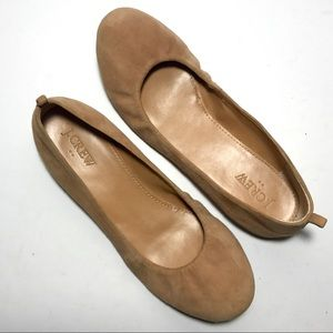 J. Crew US 7 Tan Suede Slip On Ballet Flats 58787